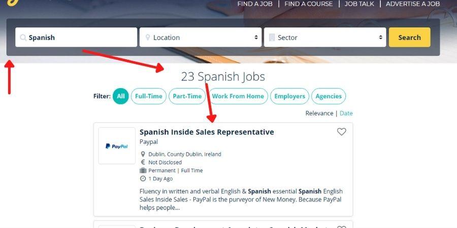 Búsqueda de trabajos que necesiten el idioma español en Jobs.ie