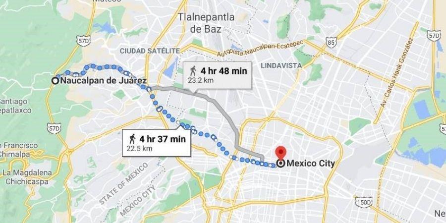 La ciudad de mexico, demostracio para la distancia poblacional en tiempo para salir de la capital