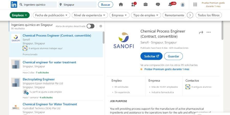Ofertas de trabajo para un ingeniero quimico en singapur, pagina popular linkedIn